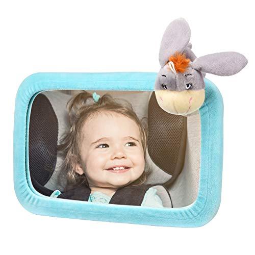 TOPELEK Rücksitzspiegel, Spiegel Auto Baby, Rückspiegel Baby Autospiegel Shatterproof Car Rückspiegel kompatibel mit meisten Auto drehbar doppelriemen, 360° schwenkbar für Baby Kinderbeobachtung