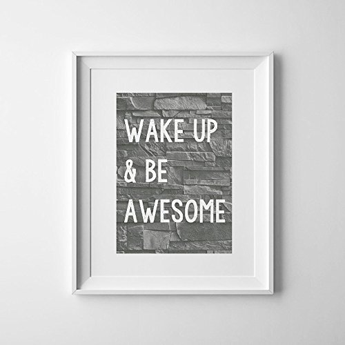 Magictrees U0026 Bumblebees Wake Up And Be Awesome Print/Brick Wallpaper/Industrial  Art/Awesome Quote/Teen Boys Room Decor/Teen Wall Art/Teen Bedroom Decor ...