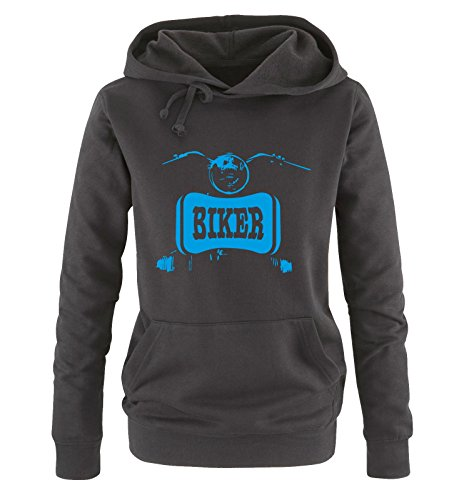Comedy Shirts - BIKER - Damen Hoodie - Schwarz / Blau Gr. (Und Schwarz Biker Bart Grau Und Schnurrbart)