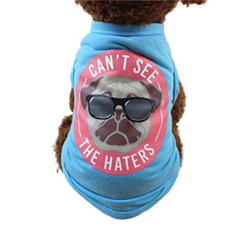 Ninasill ღ ღ Cute Pet Weste Kleidung Klein Puppy Kostüm Casual X-Small Blau