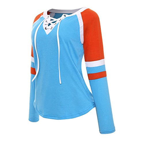 Masterein Women Lace Up Front Long Sleeve Tops Striped Crew Neck Raglan Baseball Sports T-Shirt blue XL -