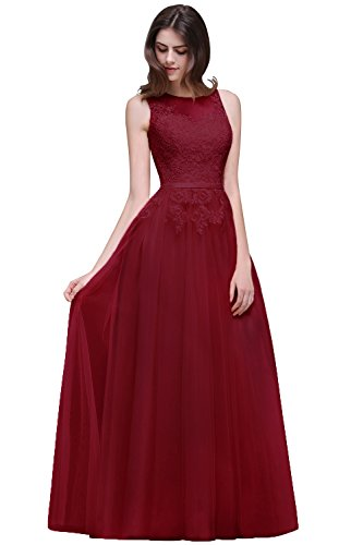 Damen Elegant Ärmellos Tüll Ballkleid Abikleider mit feiner Blumenstickerei lang Rückenfrei, Wein Rot, Gr. 32 (Ballkleid Ombre)