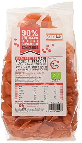Fior di Loto Conchiglie di Lenticchie Rosse e Quinoa - 4 Confezioni da 200 g