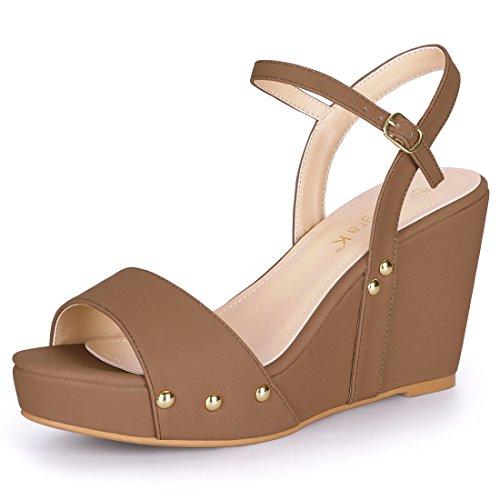 Allegra K Damen Ankle Strap Platform Wedge Sandalen High Heels, Braun/EU 38 Ankle Strap Platform Wedge