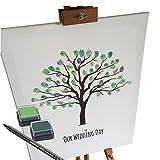 KATINGA Leinwand zur Hochzeit -Motiv Baum - als Gästebuch für Fingerabdrücke (40x50cm, inkl. Stift + Stempelkissen)