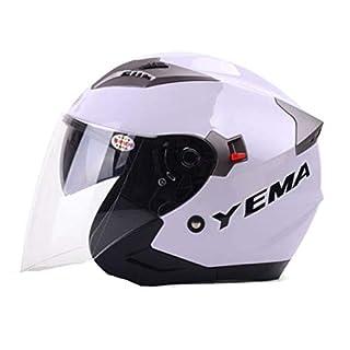 YEMA Halber Helm Vier Jahreszeiten MäNner Und Frauen Schutzhelm Anti-Beschlag Doppelte Linse Motorradhelm Futter Waschbar Fahrradhelm,White-L(58-60cm)