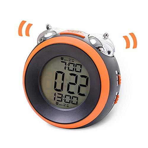 Lauter Wecker, Zwillings Glocke mit optionalem Wochentag-Alarm-Backlight, batteriebetrieben, Snooze-Funktion, batteriebetriebener Dual-Wecker für schwere Schläfer