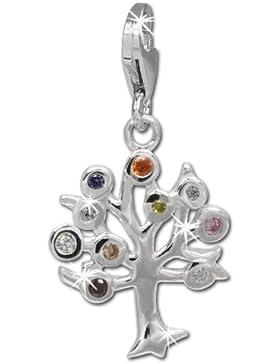 SilberDream Charm Lebensbaum mit bunten Zirkonias 925 Sterling Silber Charms Anhänger für Armband Kette Ohrring...