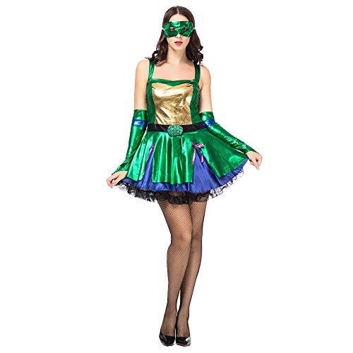 Damen Halloween Kostüm Modern Dance Kostüm Warrior Suit Green Stage Kostüm Ninja Turtle Cosplay Kostüm (inkl. Maske + Handschuhe + Rock),Green,M (Mädchen Kostüme Turtle Halloween Ninja)