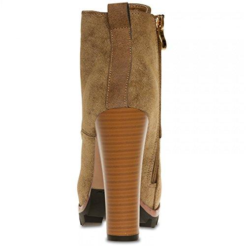 CASPAR SBO079 Damen Vintage Schür Stiefeletten mit Stiletto Absatz Khaki