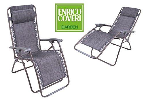 LVG Chaise longue relax inclinable avec repose-pieds intégré, structure en acier et revêtement en textilène, noir