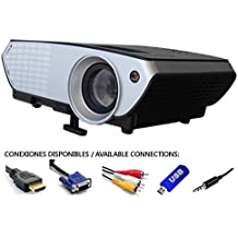 proyector barato Luximagen Portátil 2000 lúmenes LED Mini Proyector Home Cinema Portátil Multimedia Cine en Casa con USB SD HDMI VGA PS4, Nintendo Switch, Xbox