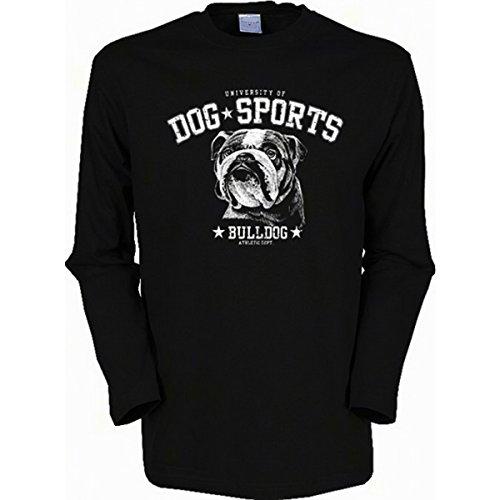 Langarm-Shirt mit Hunde Motiv geil bedruckt / Dog Sports - Bulldog ! Schwarz
