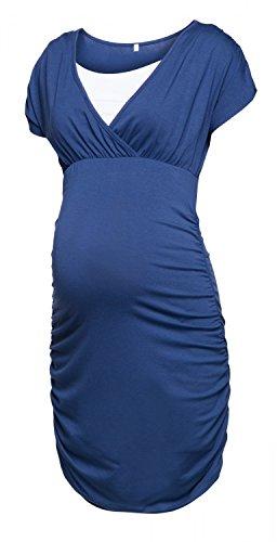 Happy Mama. Damen Umstandskleid Stillkleid Gerafftes Kleid Kurzen Ärmeln. 669p (Blau Grau, EU 40, L) (Geraffte Kurz Tasche)