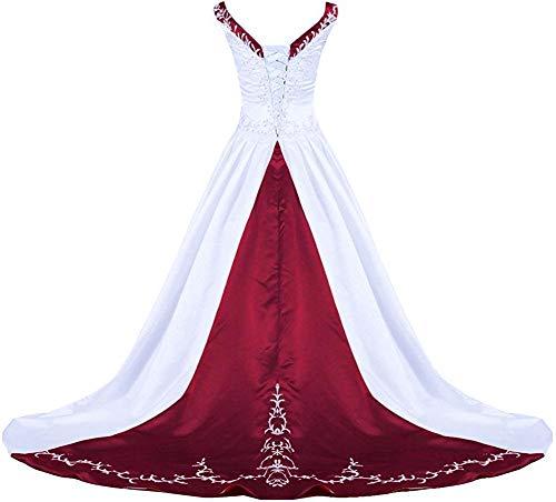 Zorayi Damen V-Ausschnitt Kapelle-Schleppe Perlen Stickerei Satin Hochzeitskleid Brautkleider Weiß & Burgund Größe 46
