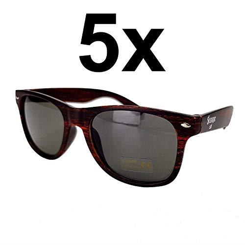 Sierra Cafe Sonnenbrille Wayfarer Nerd Brille mit UV 400 Schutz - braun Aktion - 5 Stück
