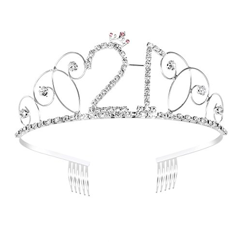 Frcolor Kristall-Tiara, Geburtstagskrone zum 21. Geburtstag, Geschenk, Prinzessinnenkrone, Haar-Zubehör (silberfarben) (Erwachsenen Birthday Happy)