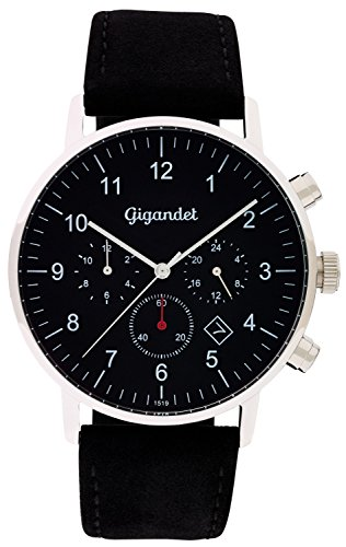 Gigandet Quartz Men's Watch Minimalism II Dual Time Watch Date Analogue Display and Black Leather Strap Silver G21 003