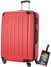 Hauptstadtkoffer® Valigia (128 litri) con un lucchetto TSA Seria SPREE (Colore Rosso con 1 ciondolo per la valigia)