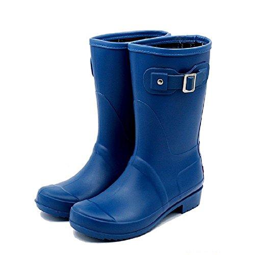 Frau Volltonfarbe Anti-Rutsch Verschleißfeste Regenstiefel deep blue