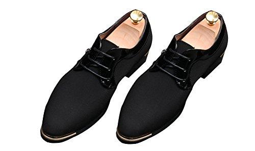 Anlarach Uomo Attività Commerciale Casual Primavera Autunno Pelle Canvas Shoes Oxford Flats Nero 42 EU