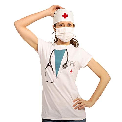 Doktor Arzt Chirurgen Kostüm Frauen Mundschutz + OP Haube Damen T-Shirt Slim Fit Medium - Sexy Chirurgen Kostüm