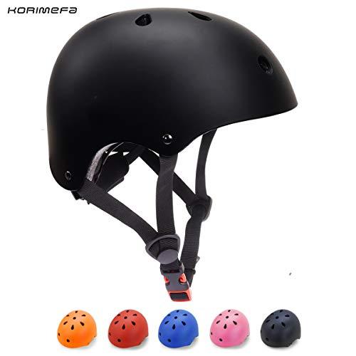 KORIMEFA Casque de Vélo pour Enfants 3-13 Ans Casque Enfant Trottinette pour Bébés Filles Garçons Protection BMX (Noir, S)