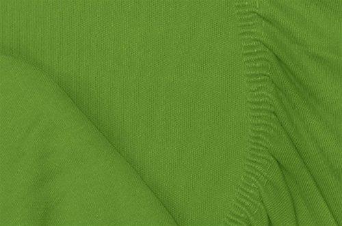 Double Jersey - Spannbettlaken 100% Baumwolle Jersey-Stretch bettlaken, Ultra Weich und Bügelfrei mit bis zu 30cm Stehghöhe, 160x200x30 Grün - 7