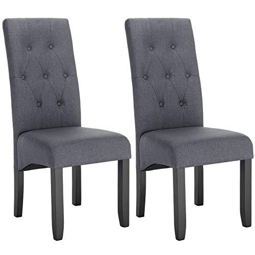 WOLTU® Esszimmerstühle BH106dgr-2 2er Set Küchenstuhl Lehnstuhl Polsterstuhl mit hoher Rückenlehne, Beine aus Massivholz, gepolsterte Sitzfläche aus Leinen, Dunkelgrau