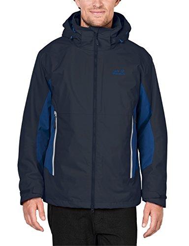 Jack Wolfskin Herren North Border 3-in-1 Jacke, Night Blue, XXL (Frauen Columbia-kapuzen-fleece)
