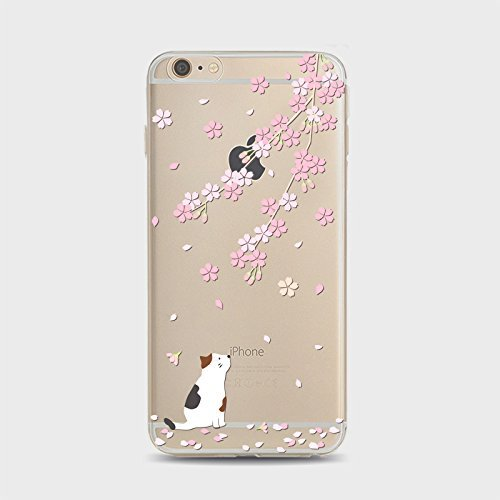 Coque iPhone 5 5s Housse étui-Case Transparent Liquid Crystal Sakura en TPU Silicone Clair,Protection Ultra Mince Premium,Coque Prime pour iPhone 5 5s-style 1 style 11