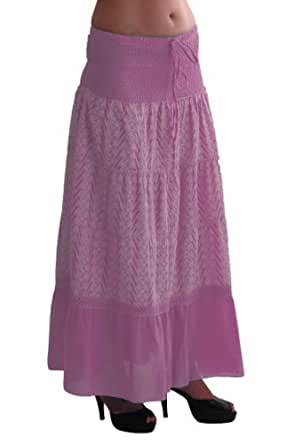 EyeCatch - Embroidered Bohemian Ladies Long Gypsy Maxi Skirt Baby Pink X-Large