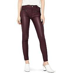 FIND Pantalón Ajustado con Cremalleras Mujer, Rojo (Cranberry), 42 (Talla del fabricante: Medium)