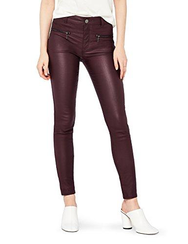 find. Damen Skinny Fit-Hose mit Ledereffekt, Rot (Cranberry), W38/L32(Herstellergröße:XXXL)
