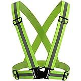 Andux Chalecos de alta visibilidad Chaleco Reflectante para Moto de Alta visibilidad para Aumentar la Seguridad Ajustable elástico de alta visibilidad reflectante de seguridad Chaleco Arnés/FGBX-01 (Verde claro)