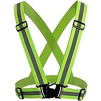 Andux Chalecos de alta visibilidad Chaleco Reflectante para Moto de Alta visibilidad para Aumentar la Seguridad Ajustable elástico de alta visibilidad reflectante de seguridad Chaleco Arnés FGBX-01 (Verde claro)