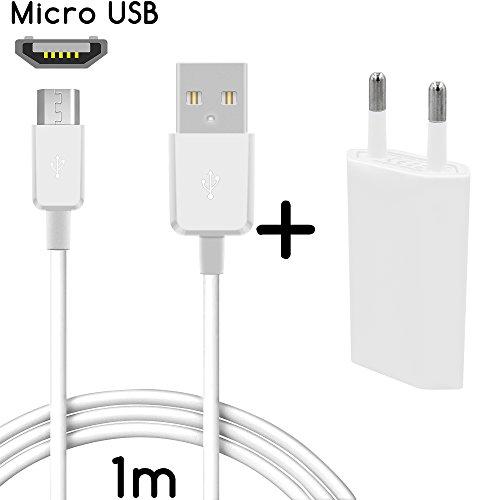 Coverlounge 2in1 Ladeset mit Micro USB Ladekabel [2.1 A] & Slim Netzteil [1.0A] kompatibel für alle LG Smartphones mit Micro USB Anschluss | Farbe: weiß | Länge: 1 Meter / 1m 009 Blackberry