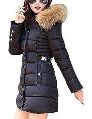 LaoZan Abrigo de mujer Abrigo de chaqueta acolchada de invierno Con capucha anorak Larga abrigo X-Large Negro