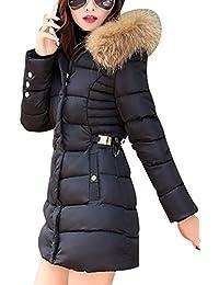 LaoZan Abrigo de mujer Abrigo de chaqueta acolchada de invierno Con capucha anorak Larga abrigo Small Negro
