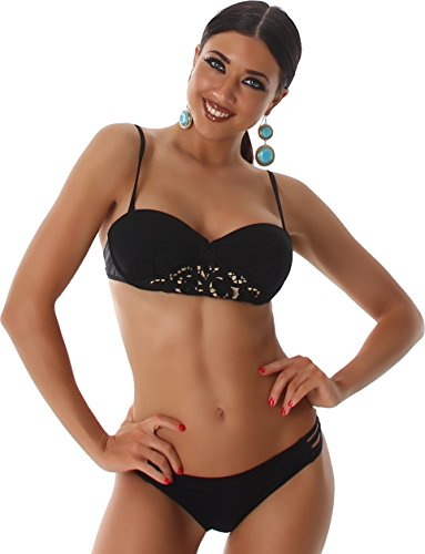 PF-Fashion Bikini Träger Bandeau Bademode Badeanzug Floral Spitze Cut Outs Zweiteiler Slip Top Uni Schwarz ()