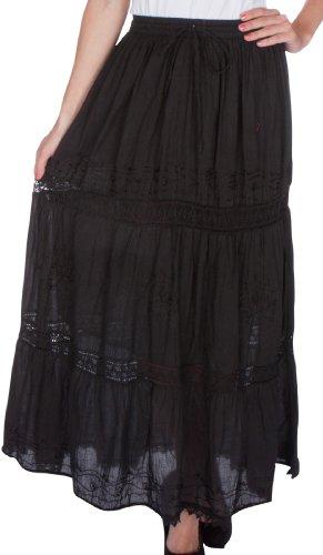 Sakkas 254M Solide Bestickte Zigeuner/Bohemian Mid Length Baumwolle Rock Schwarz/eine Größe -
