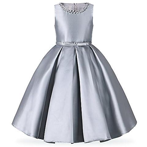 HUANQIUE Stéréoscopique Robe Demoiselle d'honneur Fille Robe Longue Mariage Soirée Grey 12