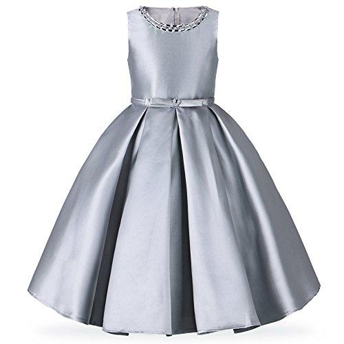 (HUAANIUE Mädchen Kleid Lang Brautjungfer Festlich Hochzeit Abendkleid, Silbergrau, Gr. 7-8 Jahre(Etikett 10))