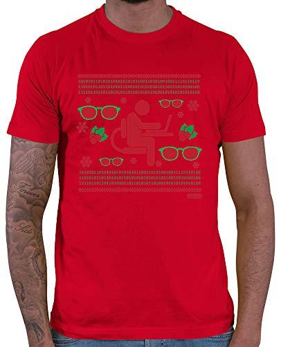 HARIZ  Herren T-Shirt Weihnachten Nerd Programmierer Weihnachten Xmas Schnee Liebe Inkl. Geschenk Karte Rot XXL