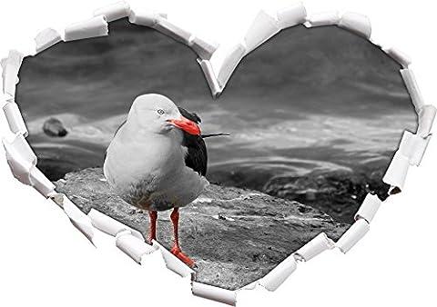 petite mouette sur des rochers noirs forme / blanc de coeur dans le regard 3D, mur ou un autocollant de porte Format: 62x43.5cm, Stickers muraux, Stickers muraux, Décoration murale