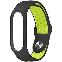 Conquro Anti-Hebilla de Aire estomas de Doble Color Correa Accesorios de Pulsera de Silicona Deportiva para Xiaomi Mi Band 3 (Verde)