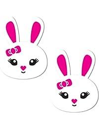 Pastease Mujer Lindo conejo blanco con nariz rosa y orejas rosas Pasties
