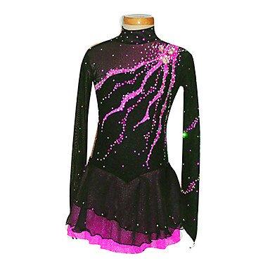 Heart&M Eiskunstlaufkleider Damen Mädchen Langärmelige Eislaufen Röcke & Kleider Eiskunstlauf-Kleid Elasthan Schwarz Eiskunstlaufkleidung , 12 (Tanz Kostüme Strass Muster)