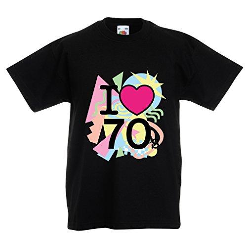 Kinder T-Shirt I Love 70's - Vintage Style Clothing (14-15 Years Schwarz Mehrfarben)
