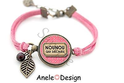 Bracelet Nounou, Cadeau nounou, Nounou qui déchire, rose marron, cabochon